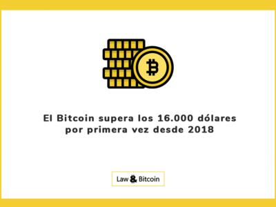 El Bitcoin supera los 16.000 dolares por primera vez desde 2018