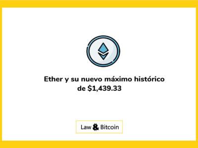 Ether y su nuevo máximo histórico de $ 1,439.33